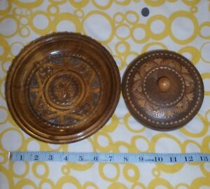 Carved Wood Bowl Trinket Pot With A Lid Treen