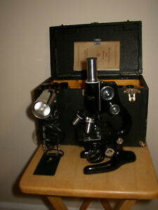 Bausch Lomb Vintage Lab Microscope 1930s Vm349 Near Mint Condition W Case