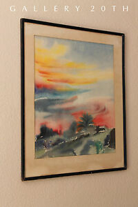 Mid Century Abstract Watercolor Painting Modern Art Eames Vtg Atomic 50 S 60 S