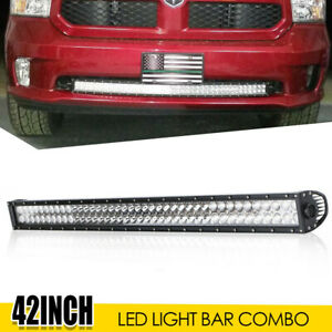 42inch 800w Curved Led Light Bar Dual Row Combo Off Road Fog Driving Pk 40 44