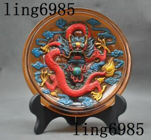 Chinese Glass Glaze Hand Carved Fengshui Dragon Spit Bead Statue Screen Plate