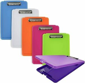Plastic Translucent Clipboard Pack W Storage Case Box Letter Size Paperboard As
