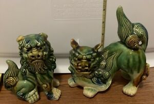 Foo Dogs Green Blue And Brown Glaze One Crouching And One Sitting