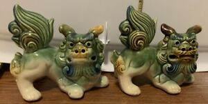 5 Inch Tall Crouching Foo Dogs Green Blue And Brown Glaze Set Of Two