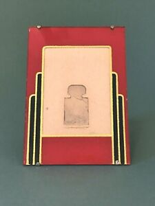 Vintage Art Deco Reverse Painted Glass Easel Picture Photo Frame Red Black Gold