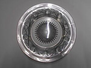 Vintage Clear Glass Bowl With Silver Overlay Art Deco Design 9 Wide Excellent
