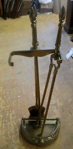 Vintage Fireplace Tool Set W Shovel Log Tongs And Stand