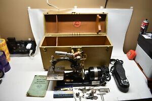 Antique Rare Wilcox Gibbs Electric Seeing Machine W Case Manual Pedal Parts