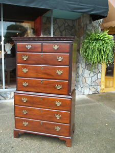 Outstanding English Mahogany Chest On Chest With Bracket Feet Early 19thc