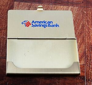 Rare american Savings Bank Brass Logo Business credit Card Holder Case Nos