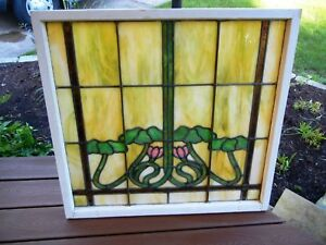 Antique Stained Glass Window Graceful Grape Vines Leaves Blossoms 103 Pieces