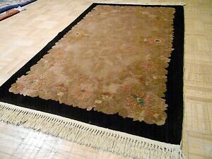 3x5 Chinese Rug Vintage Art Deco Nichols Authentic Hand Made Oriental Rug 1960s