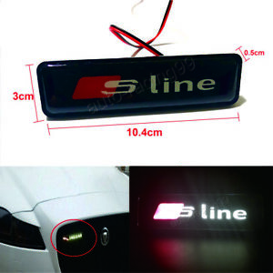 Sline Logo Led Light Car Front Grille Emblem Badge Illuminated Sticker For Audi
