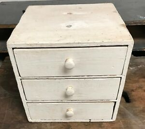 Vintage Primitive Apothecary Cabinet Wood 3 Drawer Storage Chest