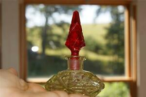 Rare Antique Czech Ruby Red Yellow Glass Perfume Bottle