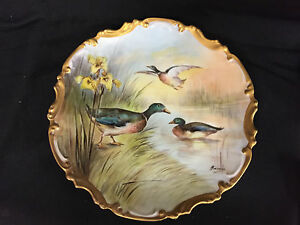 Antique Limoges France Porcelain Game Duck Plate Charger Handpainted