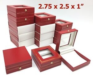 Lot 200 Red Window Top Jewelry Gift Boxes Wholesale 2 75x2 5x1 Box