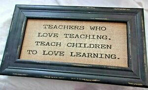 Teacher Sign Picture Gift Wall Decoration Picture Saying Love Learning Primitive