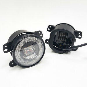 For 2010 2017 Jeep Wrangler 6000k Built in Led Drl Fog Driving Light Clear Lens