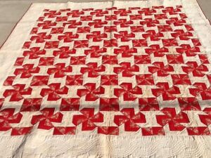 Antique Vintage Quilt Pinwheel Hand Made Red Cream Size 83 X96 Very Large
