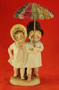 Antique Victorian 8 Bisque Figurine Cute Boy Girl With Beaded Umbrella