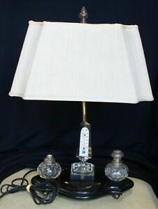 Antique Desk Lamp With Cut Crystal Inkwell Set Obelisk Thermometer