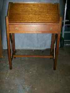 Drop Front Oak Secretary Desk W One Drawer