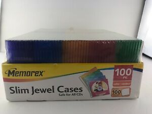Memorex Slim Cd Jewel Cases 100 Pack Assorted Colors With Jewel Case Inserts