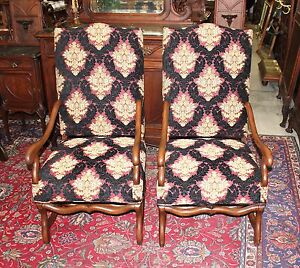 Antique French Louis Xiii Upholstered 2 Arm Chairs Set With Ottoman