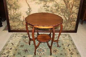 Antique Walnut Wood Small Round Occasional Side End Pie Crust Table Living Room