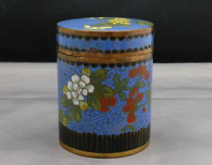 Antique Chinese Cloisonne Enamel On Copper Tea Caddy Container Pre 1900