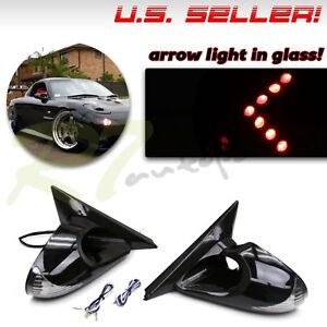 Fit 02 06 Acura Rsx Dc5 Side Power Mirrors Cree White Red Led Signal Red Arrow