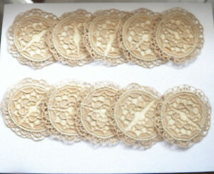 10 Antique Coasters Goblet 2 1 2 Round Needle Lace Cocktail