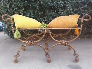 Vintage Hollywood Regency Gilt Rope And Tassel Double Bench Italy