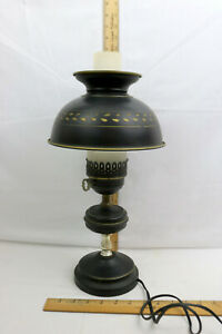 Vintage Colonial Black Gold Tole Ware Toleware Table Lamp 17 1 2 High