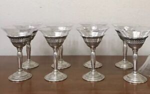 Rare Antique Sterling Silver Threaded Etched Crystal Dessert Glasses Cup Set 8