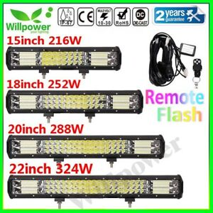 Tri Row 12 15 18 20 22inch Led Light Bar For Off Road Car Suv 4wd Remote Harness