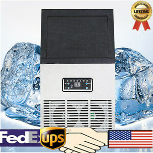 110v Auto Clear Cube Ice Making Machine Commercial Ice Maker 50kg Us Stock