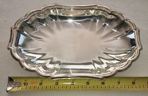 Gorham Newport Yb 13 Scalloped Fluted Silver Plated Platter Serving Trinket Tray