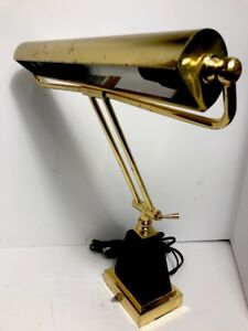 Banker Piano Organ Student Lamp Polished Brass Black Marble Base Antique