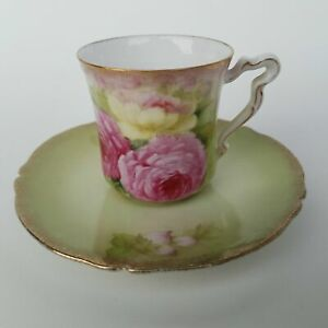 Bavaria Pink Rose Tea Cup And Saucer Tirschenreuth Hand Painted Signed