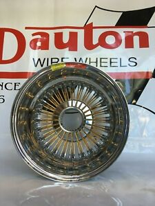 New Dayton Wire Wheels 15 X 8 Gold Spokes Reverse Offset 72 Spoke Set Of 4