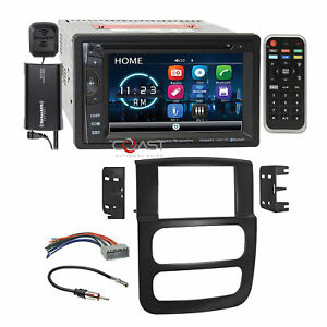 Power Acoustik Dvd Bt Sirius Stereo Dash Kit Harness For 02 05 Dodge Ram Truck