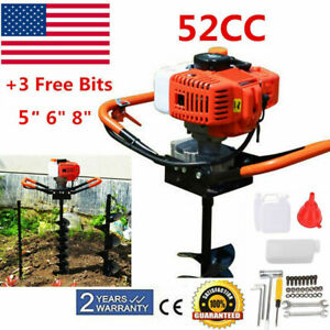 52cc Post Hole Digger Gas Powered Earth Auger Borer Fence Ground 3drill Bits Usa