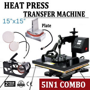 5 In 1 Heat Press Machine For T shirts 15 x15 Combo Kit Sublimation Swing