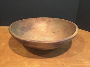 Large Antique Primitive Turned Wooden Dough Or Chopping Bowl