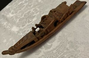 Antique Chinese Bamboo Junk Fishing Boat Paint Brush Rest Holder Hand Carved