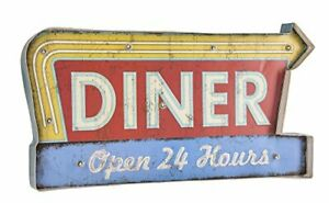 Ganz 22 Faux Vintage Light Up Led Sign diner Open 24 Hours With Faux Neon A