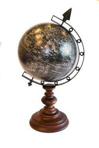 Beautiful World Globe On Wooden One Leg Stand Hand Made Table Desk 17 H