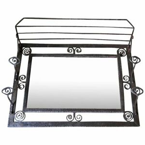 French Wrought Iron And Mirror Art Deco Coat Hat Rack Circa 1930